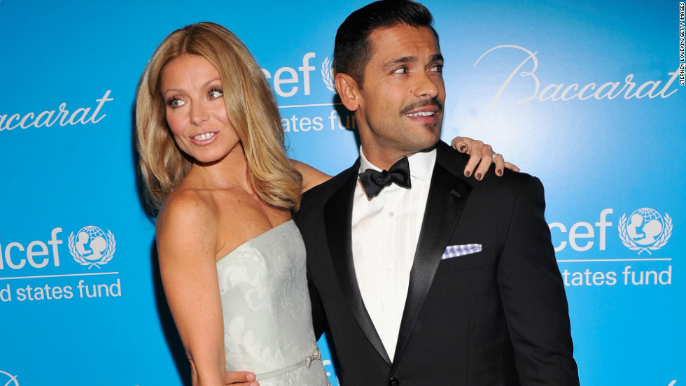 Kelly Ripa and Mark Consuelos check out the arrivals at the Unicef SnowFlake Ball in New York on November 27.