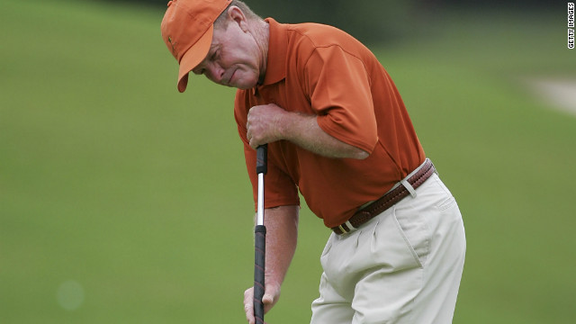Tom Kite uses a long putter at Prestonwood Country Club in Cary, North Carolina, on September 26, 2009.