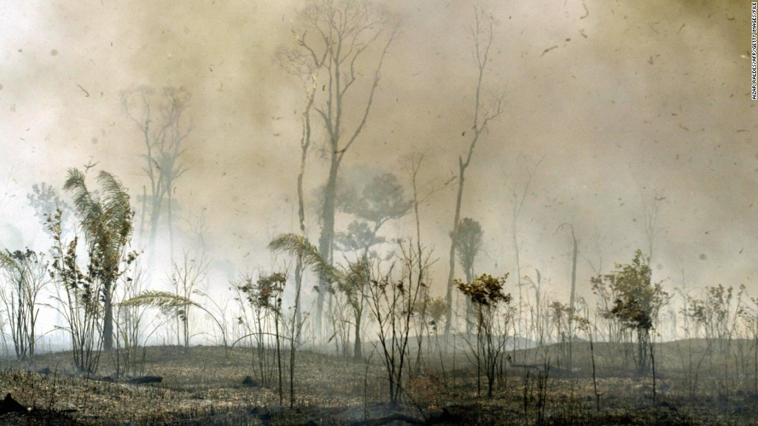 Riberalta, the largest town of Bolivia's Amazon region, is engulfed with fire during September 2005. The Amazon region saw widespread wildfires that turned the rainforest into a carbon source rather than a carbon sink.