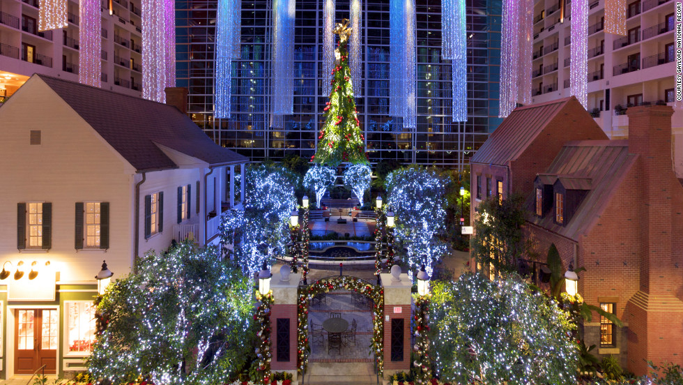 The Gaylord National Resort in National Harbor, Maryland, hosts an annual Christmas on the Potomac event, complete with indoor snowfalls and ice sculptures you can actually slide down.