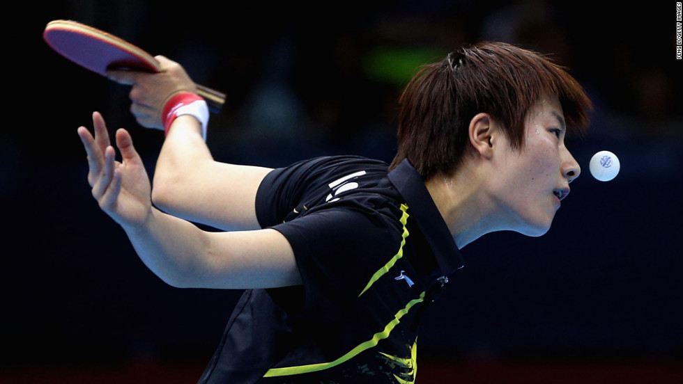 Ning Ding of China plays a forehand during the women's singles table tennis quarter-final match against Ai Fukuhara of Japan on Day 4 of the London 2012 Olympic Games on July 31.