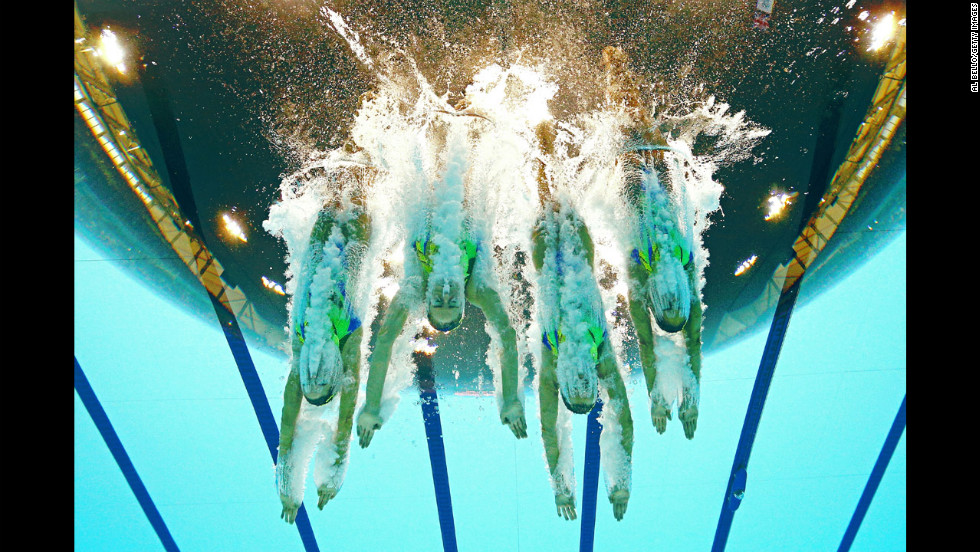 Great Britain competes in the women's teams synchronized swimming free routine final on Day 14 of the London 2012 Olympic Games on August 10.