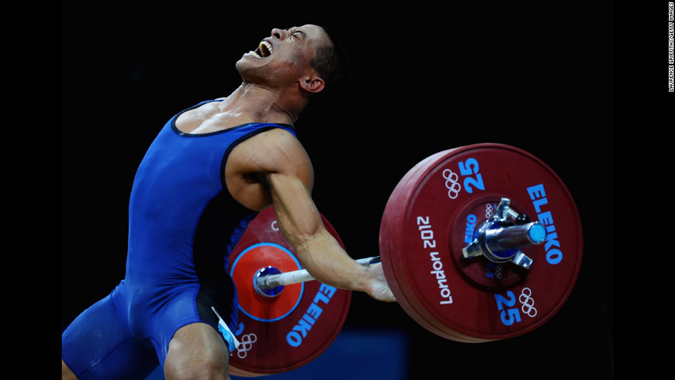 Manuel Minginfel of the Federated States of Micronesia competes in the men's 62-kilogram weightlifting on Day 3 of the London 2012 Olympic Games on July 30.