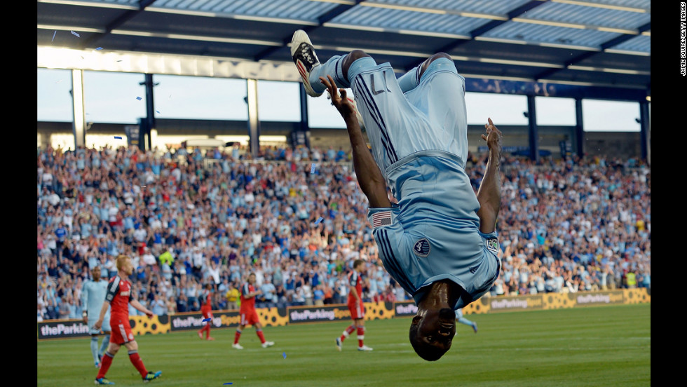 C.J. Sapong of Sporting KC does a backflip after scoring during the Major League Soccer game against the Toronto FC on June 16 in Kansas City.