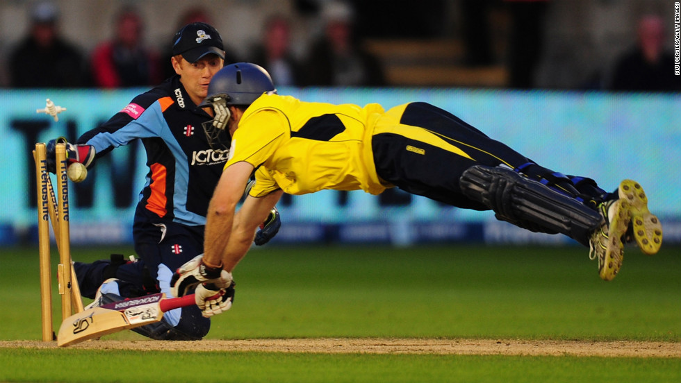 Hampshire batsman Simon Katich is run out by Yorkshire keeper Jonny Bairstow during the final of the Friends Life T20 between Hampshire and Yorkshire at SWALEC Stadium on August 25 in Cardiff, Wales.