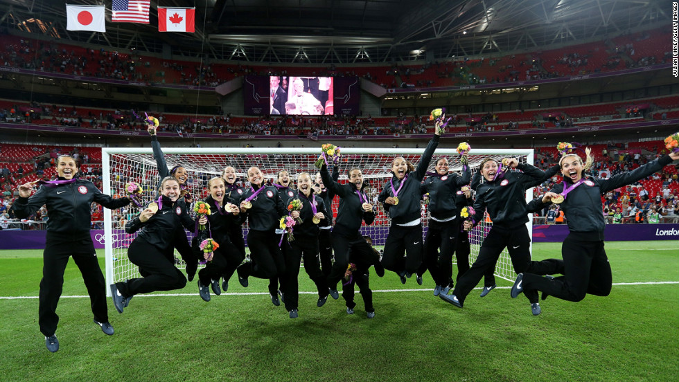 The United States women's soccer team celebrates a gold medal win against Japan on Day 13 of the London 2012 Olympic Games on August 9.
