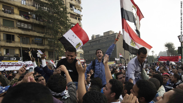 Egyptian protesters shout slogans against President Mohammed Morsy's decree during a demonstration in Tahrir Square.