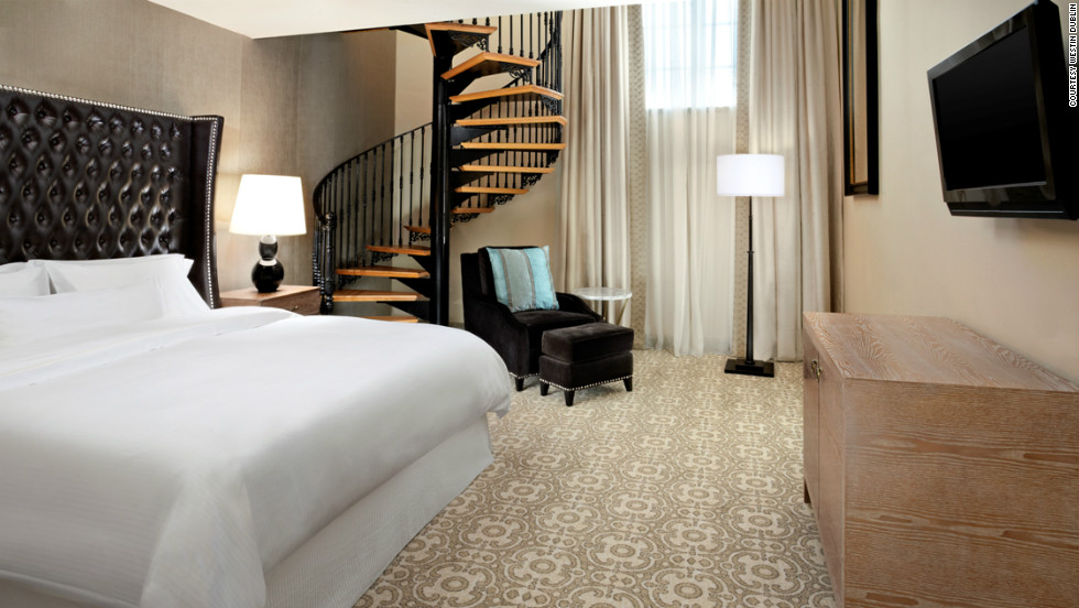 "The Library suite bedroom at the Westin Dublin. The hotel offers a package that lets people stash their electronic devices in a safe, in exchange for a ""detox survival kit."""