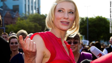 "Actress Cate Blanchett speaks upon her arrival at the world premiere of ""The Hobbit"" movie in Courtenay Place in Wellington on November 28, 2012.  Huge crowds swarmed into central Wellington on November 28 for the world premiere of Peter Jackson's ""The Hobbit"", an event that has sparked Middle Earth mania in New Zealand.      AFP PHOTO / Marty Melville        (Photo credit should read Marty Melville/AFP/Getty Images)"