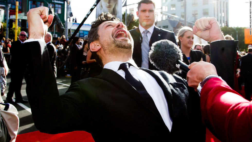 Actor Andy Serkis, who plays Gollum, speaks to reporters on the red carpet.