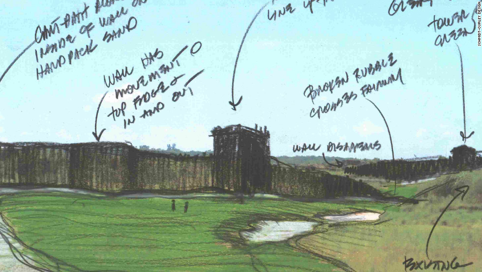 A sketch of the design work behind a hole on the course, in which a mock-up of the Great Wall of China is threaded throughout its entire length.