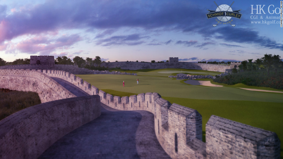 China's Mission Hills golf complex is a fantastical course that incorporates traditional golf with aspects of crazy golf. Pictured is The Great Wall of China hole, a large obstacle for players to contend with.