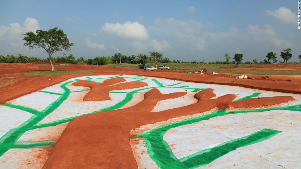 """Work is well under way on the hole named """"Panda-monium"""" ahead of the course opening in 2014."""