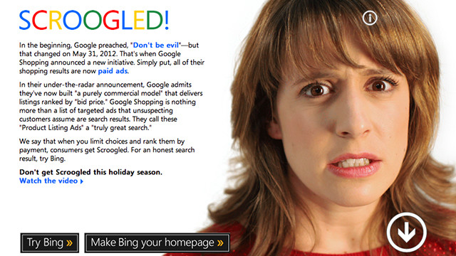 Bing's Scroogled campaign takes aim at Google's paid shopping listings.