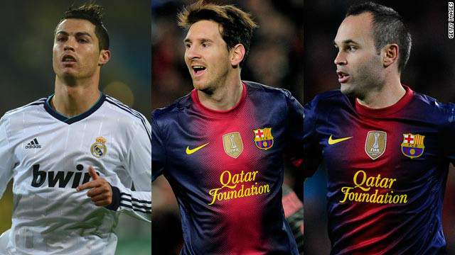 Cristiano Ronaldo, Lionel Messi and Andres Iniesta are the three contenders for the prestigious Ballon d'Or.