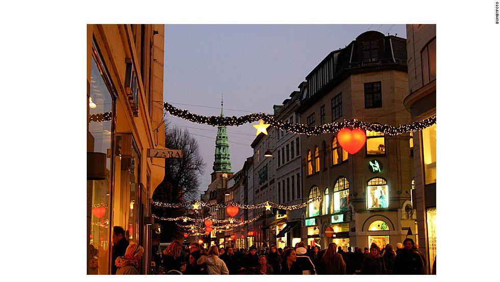 Christmas in the snowy city of Copenhagen.