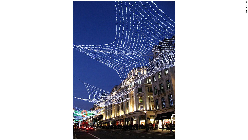 A tasteful arrangement of Christmas lights in London.