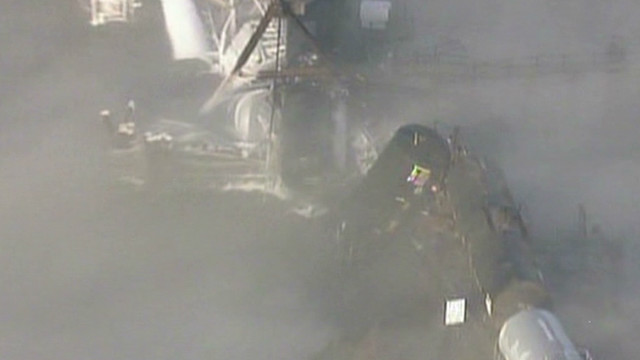 See raw video of mangled train