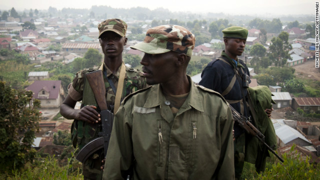 Colonel Sultani Makenga (C), head of the rebel M23 group, pictured in July.