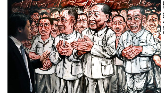 File photo of a painting by Chinese artist Zeng Fanzhi in Hong Kong.
