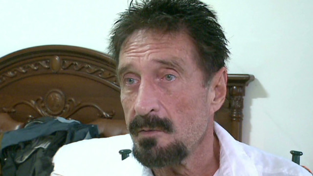 McAfee talks to CNN while on the run