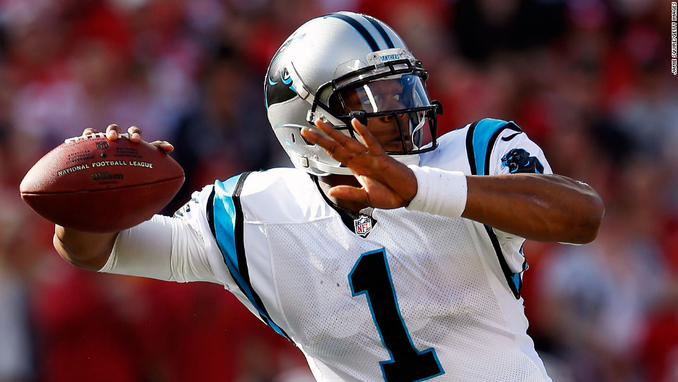 Quarterback Cam Newton of the Carolina Panthers passes on Sunday.