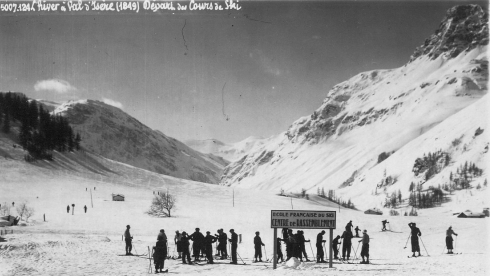 Skiing is synonymous with Val d'Isere -- it was principally enlisted to help the villagers get around. But as this snap from 1849 shows, it wasn't long before its snowy slopes were utilized for a ski school.