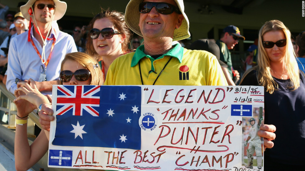 A fan shows his appreciation for Ponting, who won a record 48 Tests as captain and was involved in 108 victories overall.