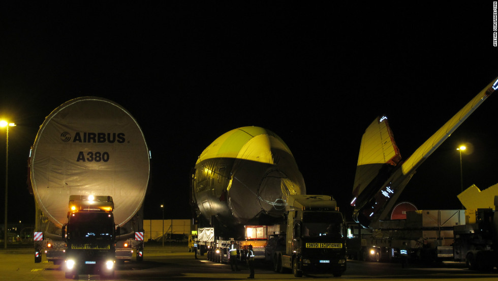 The convoy comes to an end at the French company's production plant. Once assembled the aircraft will be flown to its respective buyer. There are now 89 Airbus A380 planes operated by nine carriers around the world.
