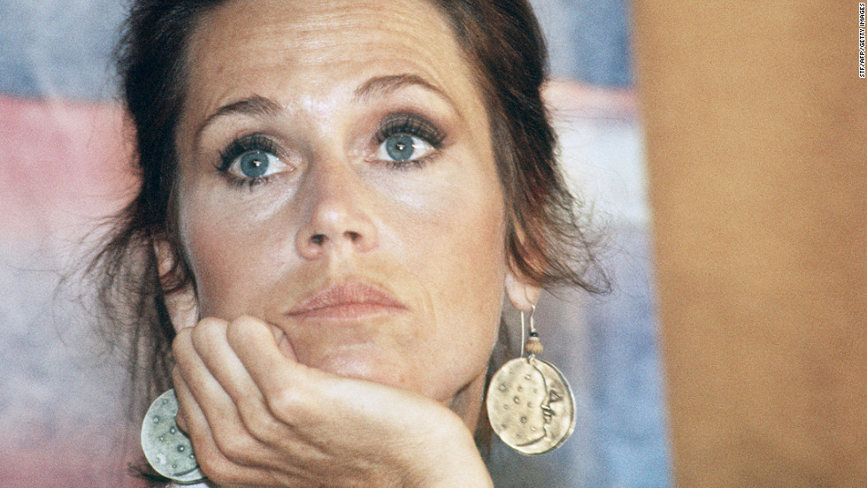"Fonda speaks to the press for her film ""Coming Home"" in 1978 in Cannes, France, during the 31st International Cannes Film Festival. ""Coming Home"" netted her an Academy Award for best actress, her second. She also won for ""Klute"" in 1971."