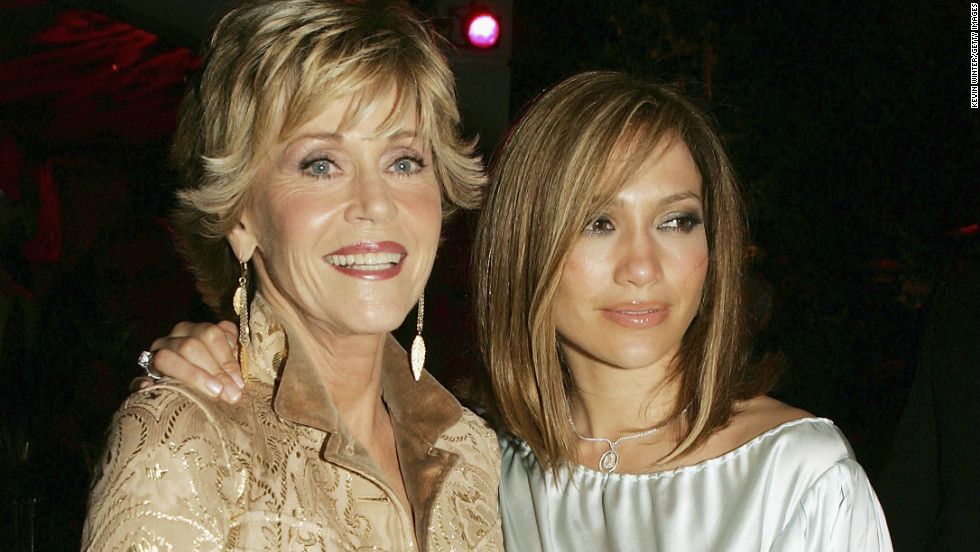 "Fonda and Jennifer Lopez appear together after the premiere of their film ""Monster-In-Law,"" in 2005."