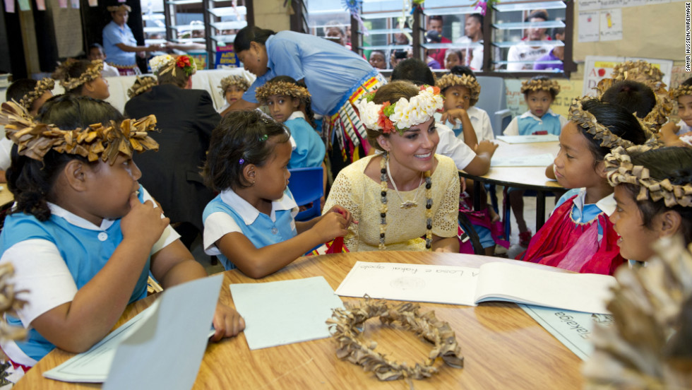 Catherine meets children at Nauti Primary School during the couple's Diamond Jubilee tour of the Far East on September 18, 2012, in Funafuti, Tuvalu. Since her marriage with Prince William, the Duchess has reached out to children and schools all over the world.