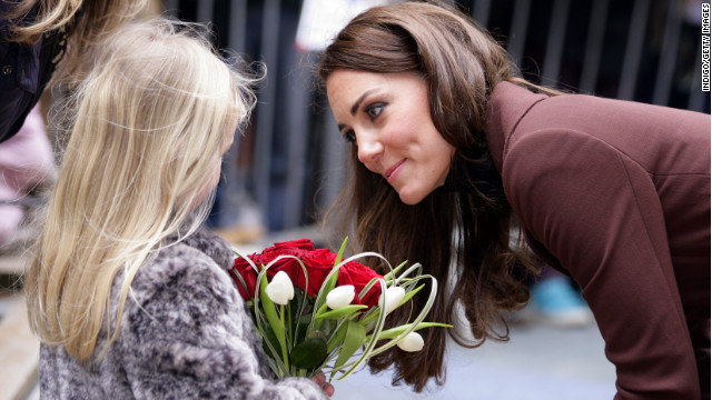 LIVERPOOL, UNITED KINGDOM - FEBRUARY 14: (EMBARGOED FOR PUBLICATION IN UK NEWSPAPERS UNTIL 48 HOURS AFTER CREATE DATE AND TIME) Catherine, Duchess of Cambridge talks with a young girl as she arrives for a visit to Alder Hey Children's Hospital on February 14, 2012 in Liverpool, England. (Photo by Indigo/Getty Images)