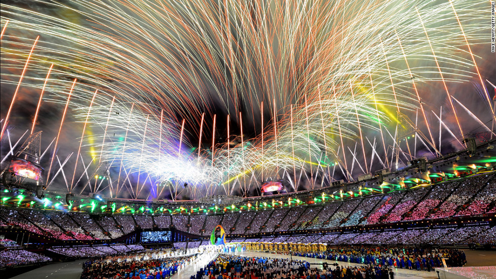 <strong>August 12: </strong>Fireworks explode over the stadium during the closing ceremony of the London Olympics. The Summer Games started on July 27.