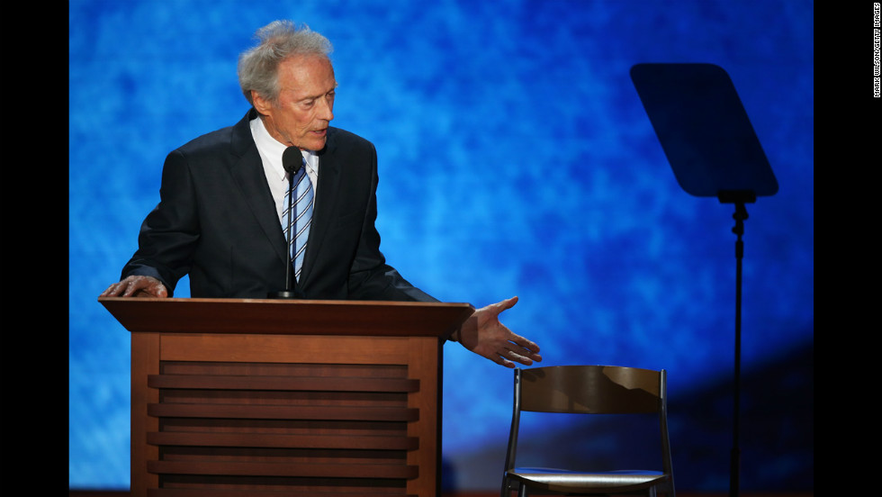 "<strong>August 30: </strong>Actor Clint Eastwood speaks on the final day of the Republican National Convention in Tampa, Florida. During his speech, he addressed an ""invisible"" President Barack Obama sitting in an empty chair."