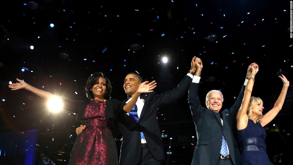 <strong>November 6: </strong>President Barack Obama stands on stage with first lady Michelle Obama, U.S. Vice President Joe Biden and Dr. Jill Biden after his victory speech on Election Night in Chicago. Obama was re-elected with 332 electoral votes and 51% of the popular vote.