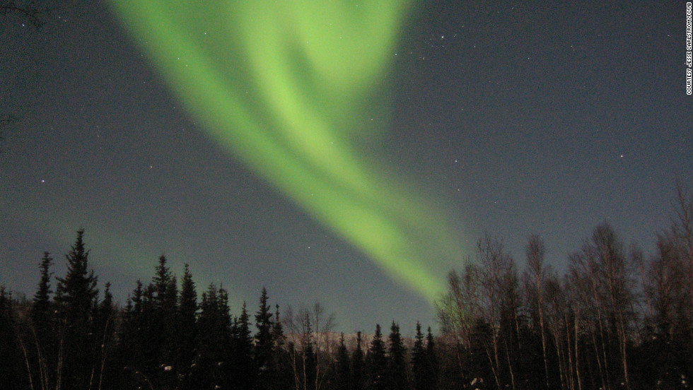The aurora borealis, also called the northern lights, provide a spectacular show in the night sky near Fairbanks, Alaska.