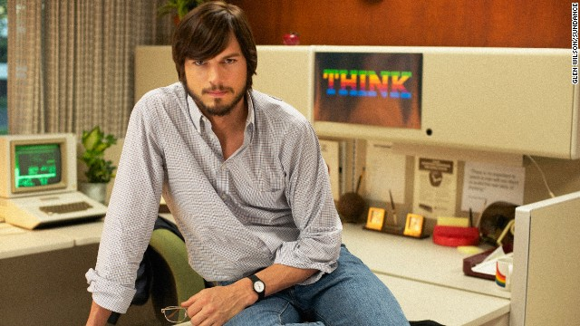 Kutcher, in full '70s mode, as Steve Jobs.