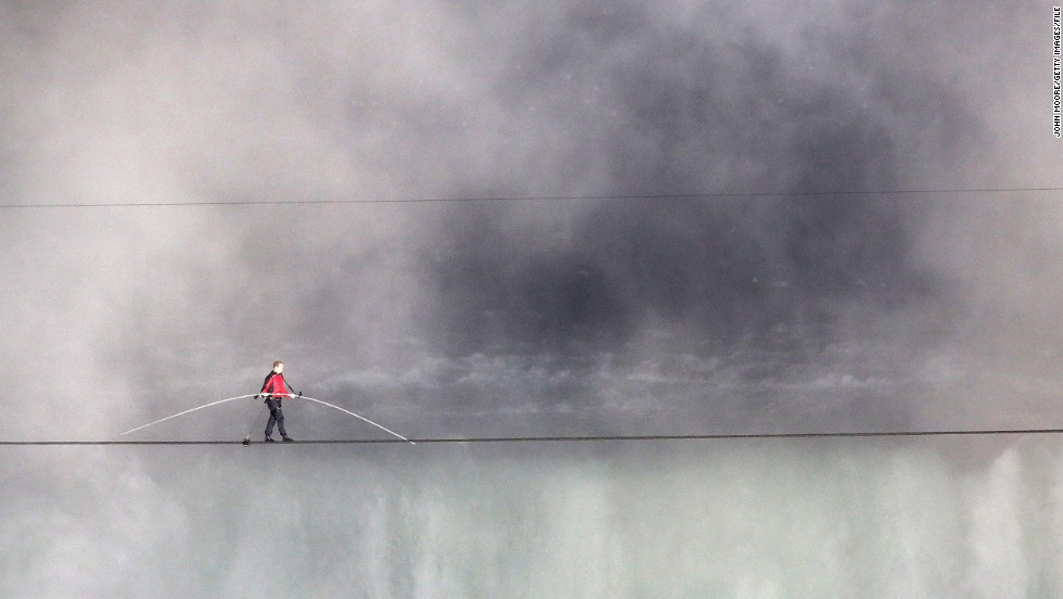 <strong>June 15:</strong> Aerialist Nik Wallenda walks the tighrope over Niagara Falls in Canada. Wallenda walked across the 1,800-feet-long, 2-inch-wide wire as the first person to cross directly over the falls from the United States into Canada.