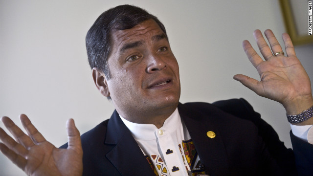 The President of Ecuador, Rafael Correa, gestures as he speaks to AFP during an interview in Lima on November 30, 2012.