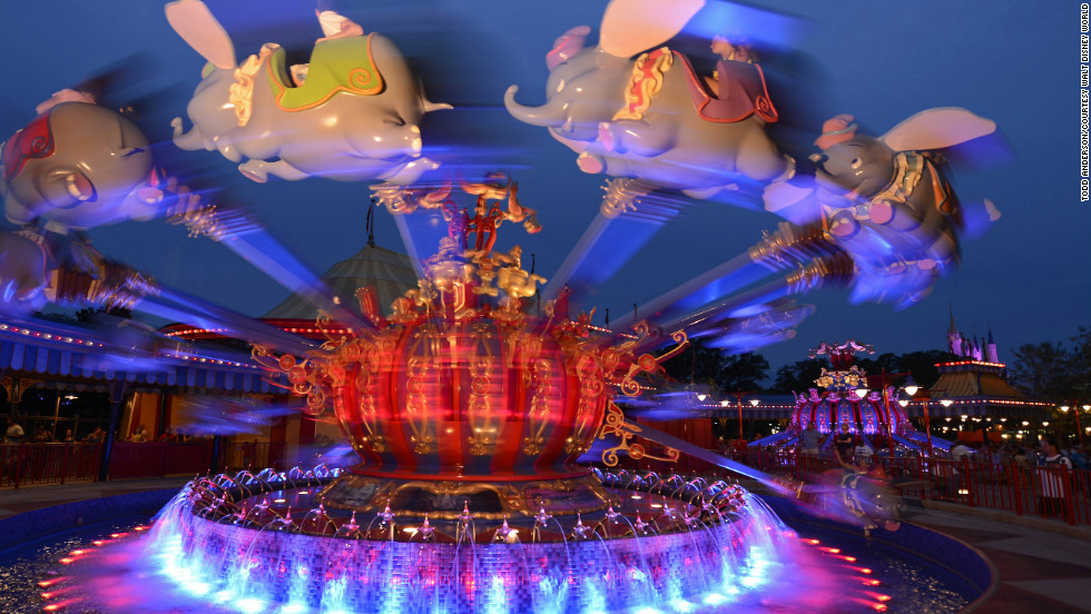 Dumbo, The Flying Elephant rides are a big draw in the Storybook Circus area.