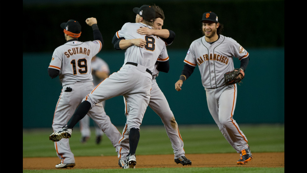 <strong>October 28:</strong> The San Francisco Giants celebrate defeating the Detroit Tigers in the 10th inning to win Game Four -- the deciding game -- of the World Series at Comerica Park in Detroit.