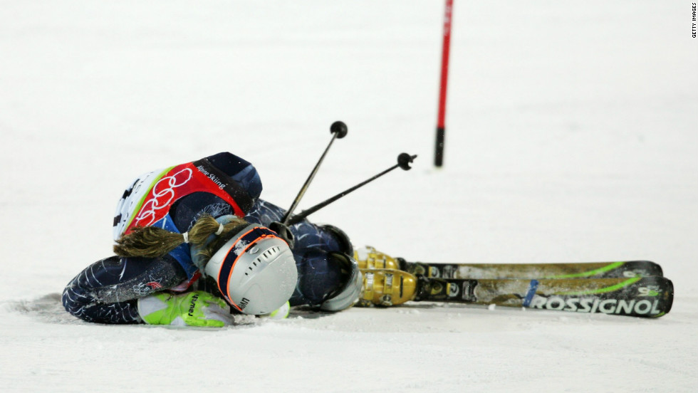 Skiing is a treacherous sport, demonstrated by this fall Vonn had at the 2006 Winter Olympic Games in Turin. She was airlifted to hospital but returned two days later to compete and finished eighth. Her grit earned her the U.S. Olympic Spirit Award.