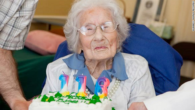 Besse Cooper of Monroe, Georgia, celebrates her 116th birthday. She was certified as the world's oldest person by Guinness World Records in 2011.
