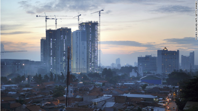 High rise commercial buildings under construction in Jakarta in February.