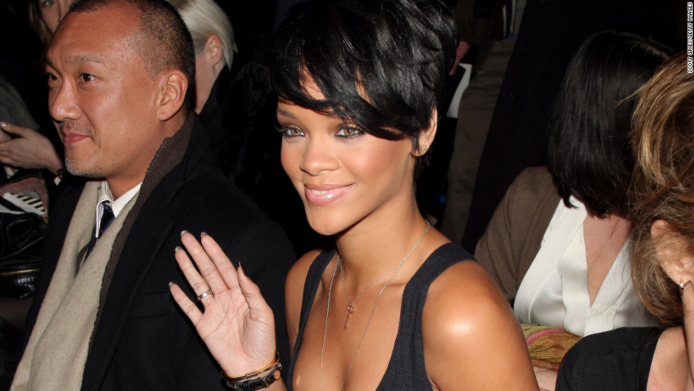 Rihanna catches a fashion show in New York City during Mercedes-Benz Fashion Week in February 2008.