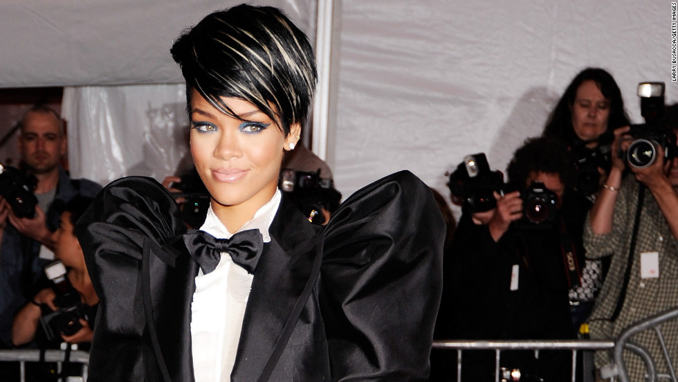 Rihanna wears a menswear-inspired look to the 2009 Costume Institute gala at the Metropolitan Museum of Art in New York City.