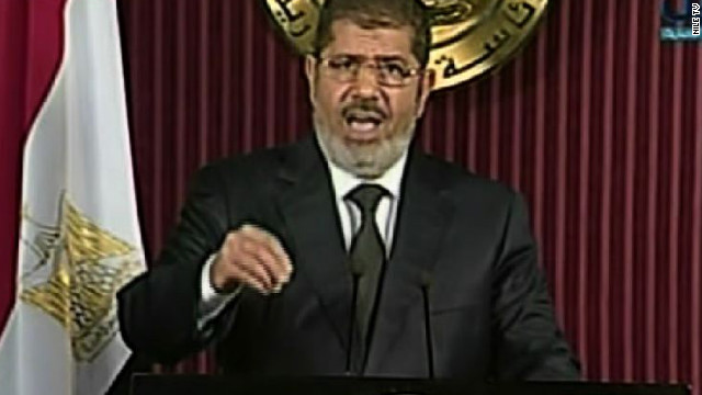 Egyptian president Mohammed Morsy addresses the nation via television on Thursday, December 6.
