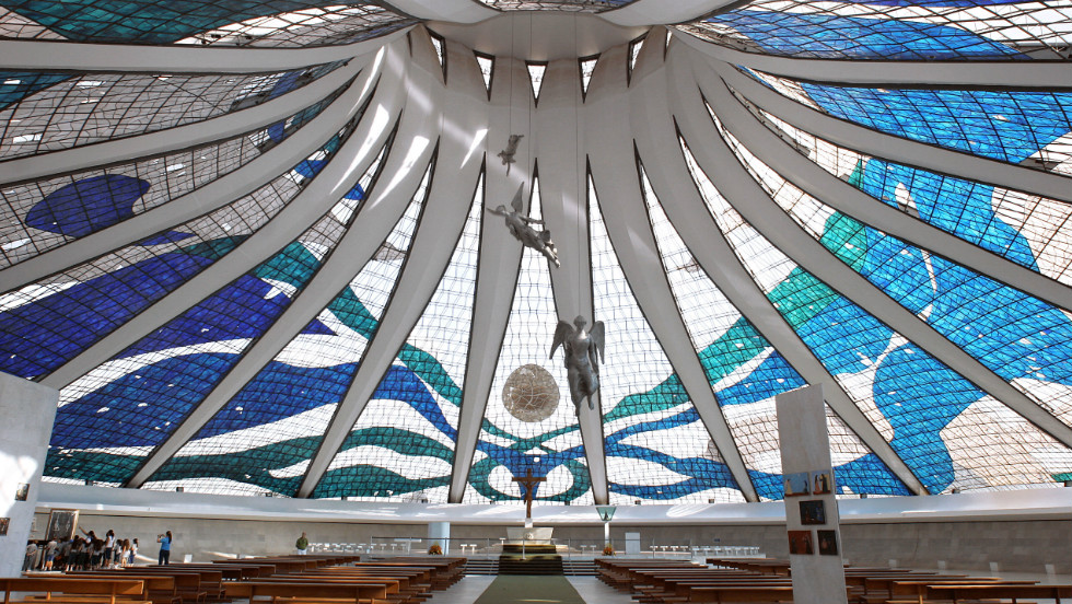 <strong>Brasilia Airport: </strong>On your way to Brasilia to check out the work of legendary architect Oscar Niemeyer? (Pictured: Interior of Brasilia's Cathedral). You're unlikely to be delayed at the airport, which has a punctuality rating of 87.07%.
