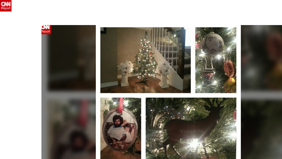 """Jessica Edwards (@je_photography), a photographer in Lamar, Missouri, has made photo ornaments to mark special occasions like her wedding, honeymoon and the passing of her dad. She also buys ornaments from every trip as a keepsake. She now has so many of these ornaments that she had to buy an extra tree to display them. """"I love our mini-tree and the memories that hang from its branches,"""" she wrote."""